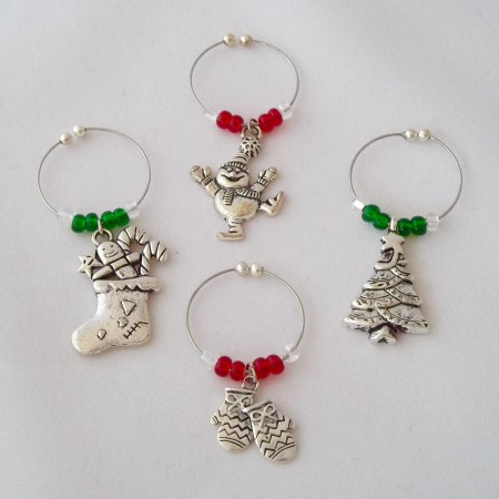 christmas wine charms happy holidays
